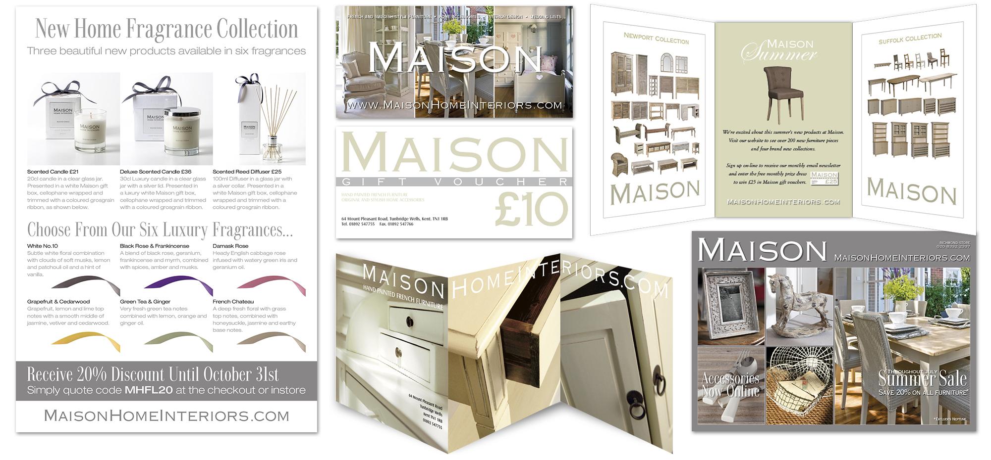 Publicity designs for Maison
