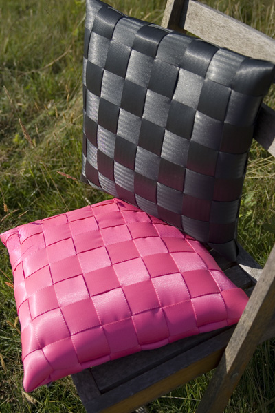 Swallowtail Hill Cushions Made From Car Seat Belts