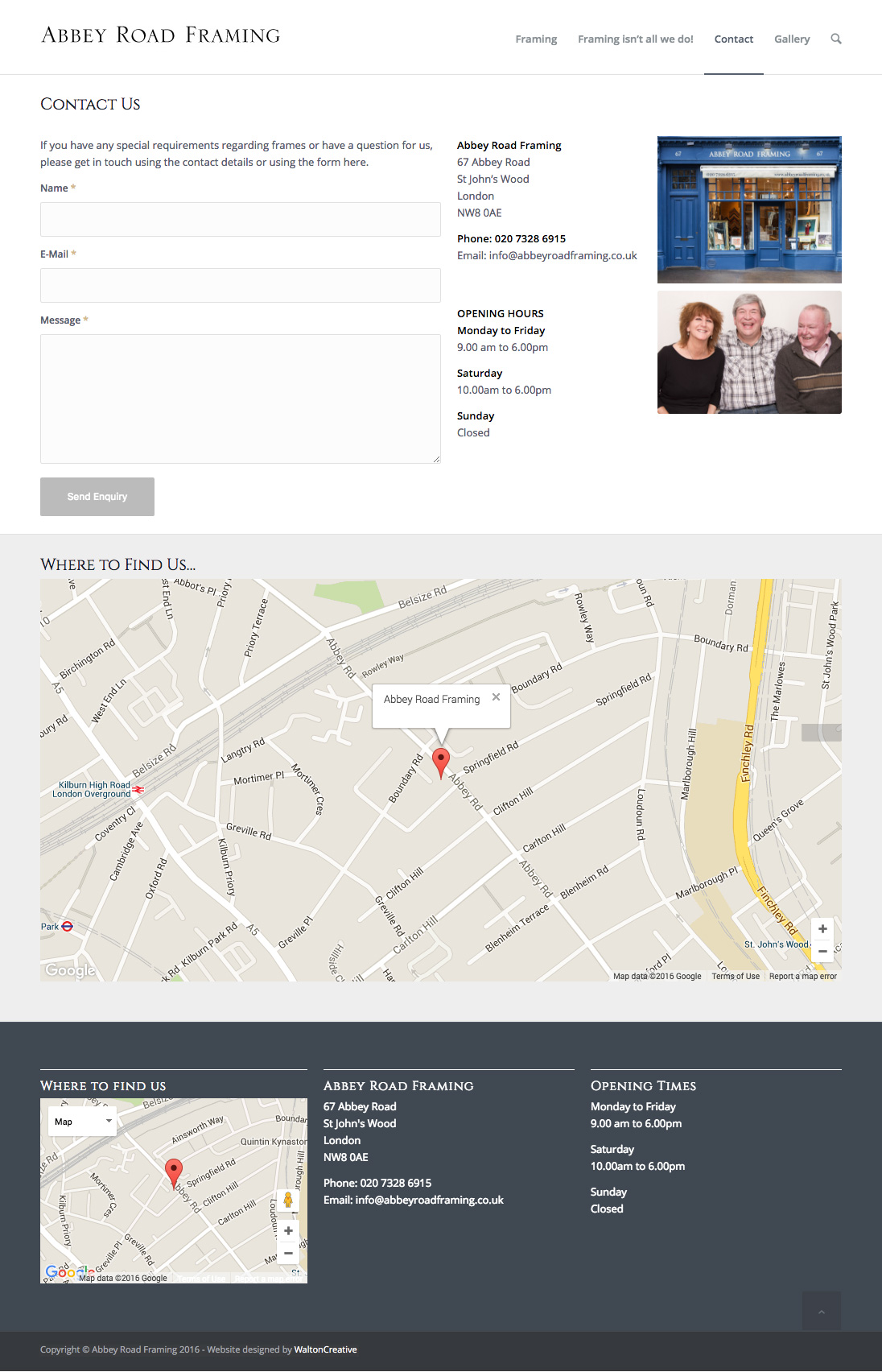 Abbey Road Framing Contact Page