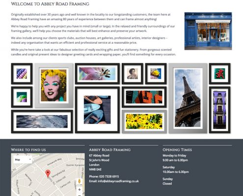 Abbey Road Framing Website Design