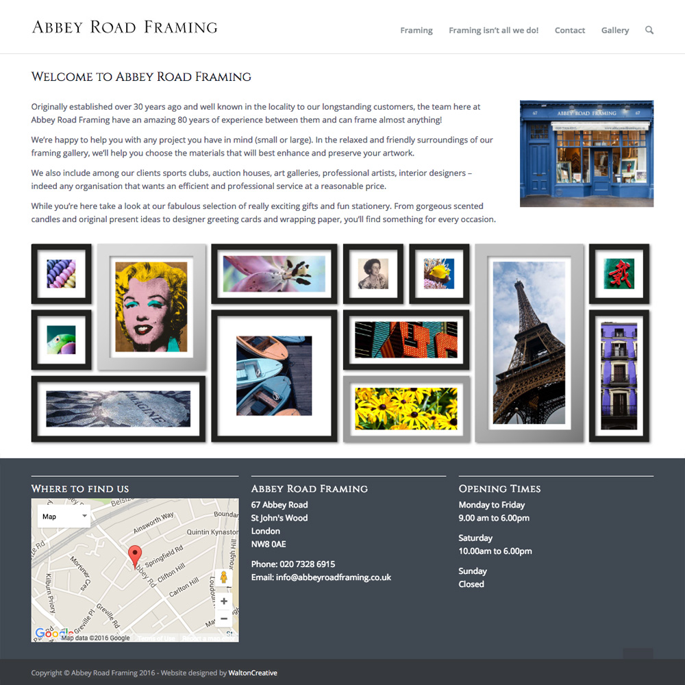 Abbey Road Framing Website Design