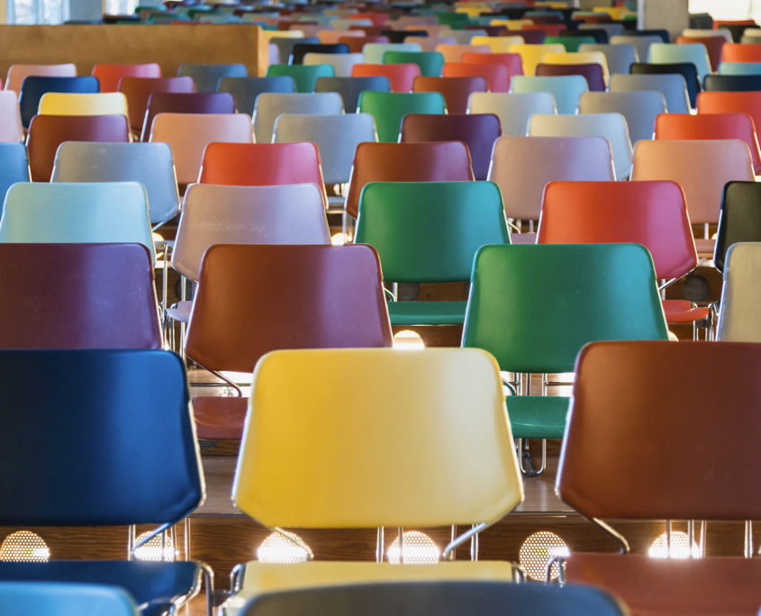 Colourful lecture theatre chairs Rotterdam 171121wc808433