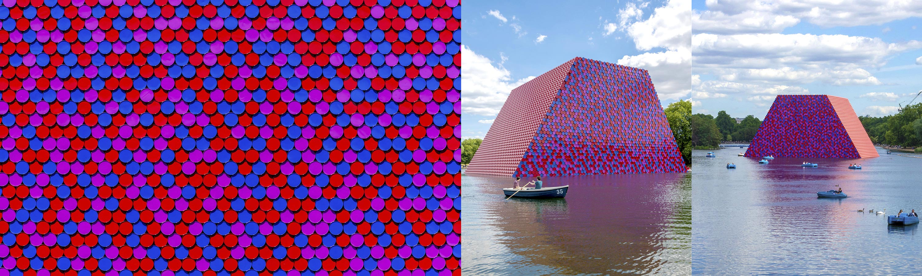 Christo's Mastaba Sculpture of Oil Barrels on the Serpentine Lake