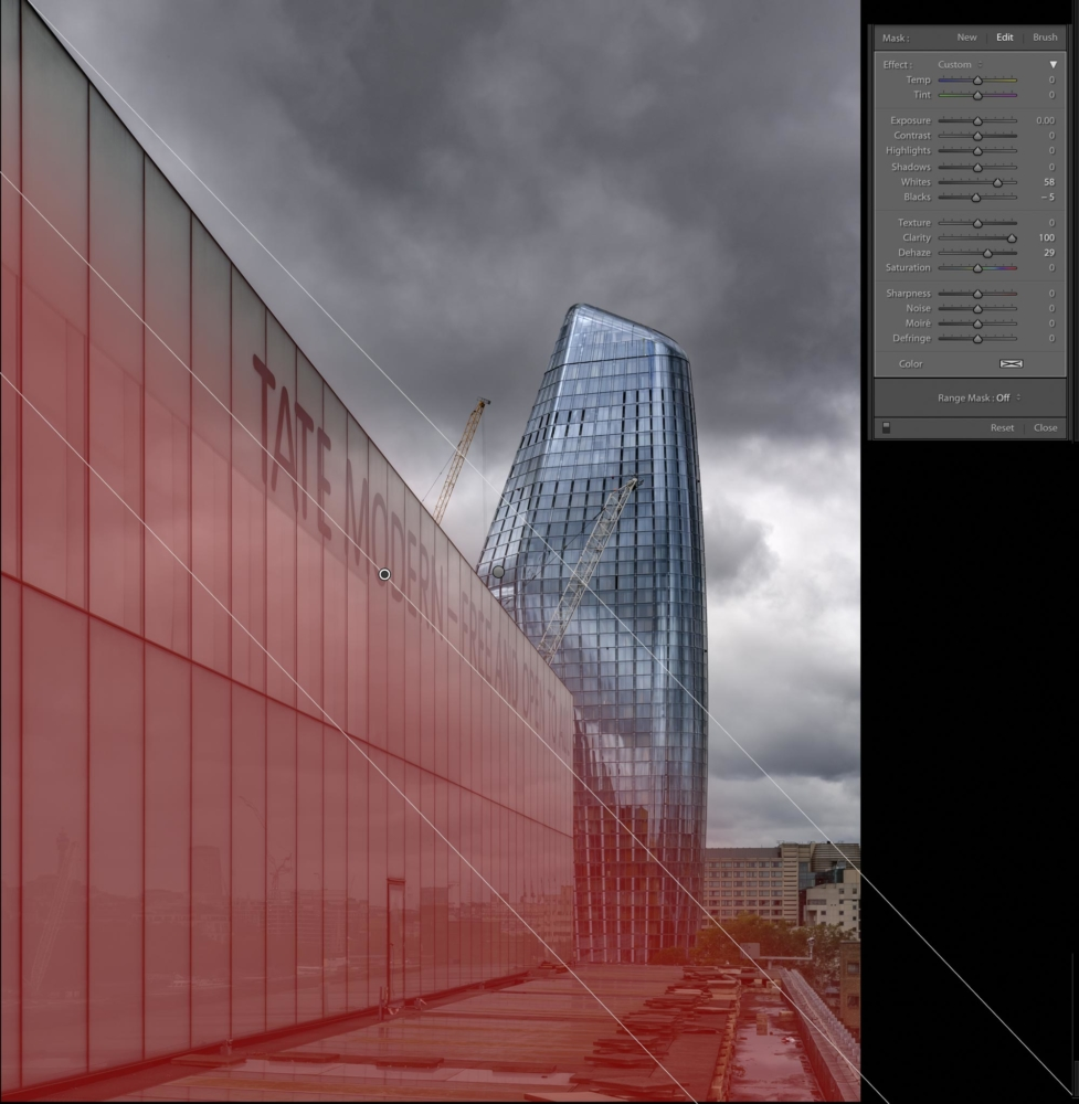 graduated filter added to building to increase reflections