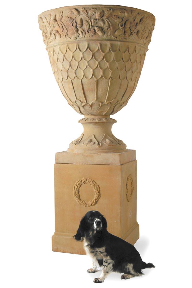 Oakleaf Urn on Pedestal and Dog Featured
