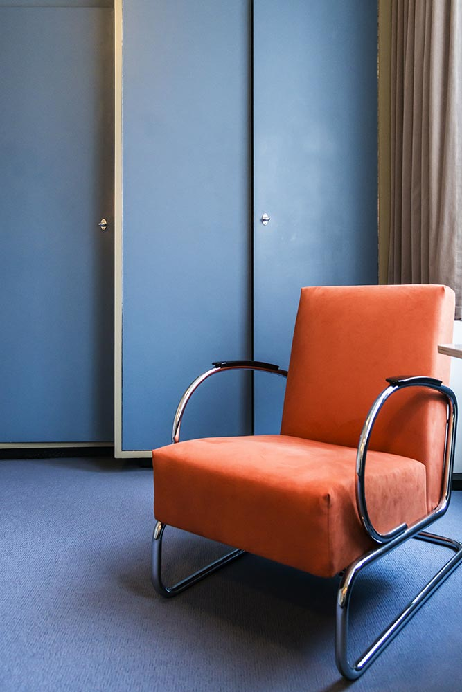 Blue Bedroom with Orange Chair, Sonneveld House-Rotterdam 171118wc807648