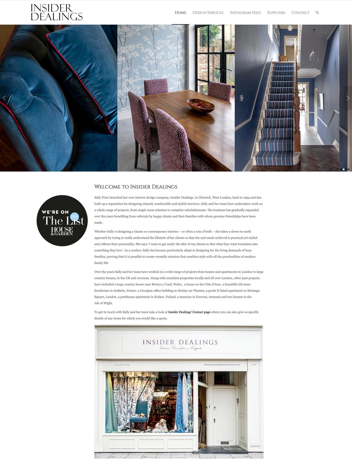 Insider Dealings Website Home 1