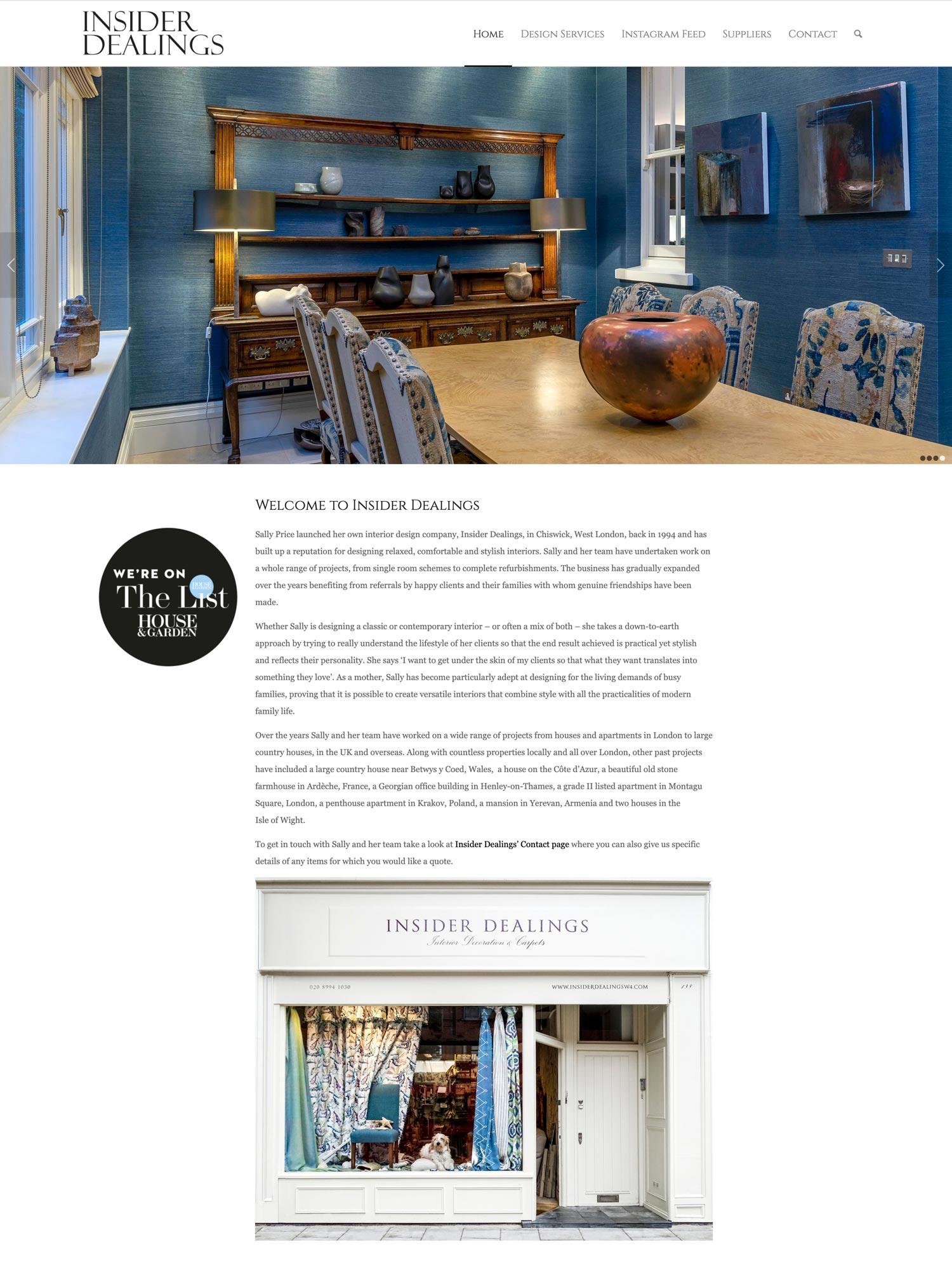 Insider Dealings Website Home 3