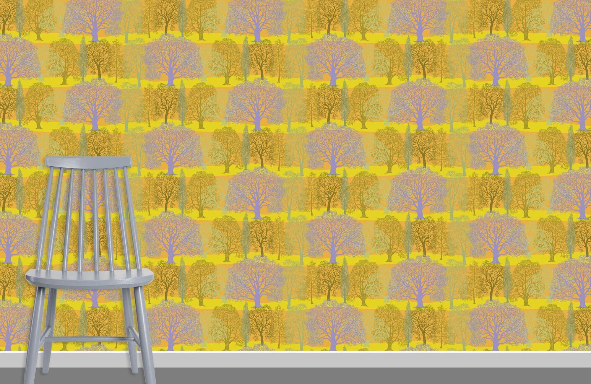 Trees Pattern Design H 37 26 HL 38 plus chair