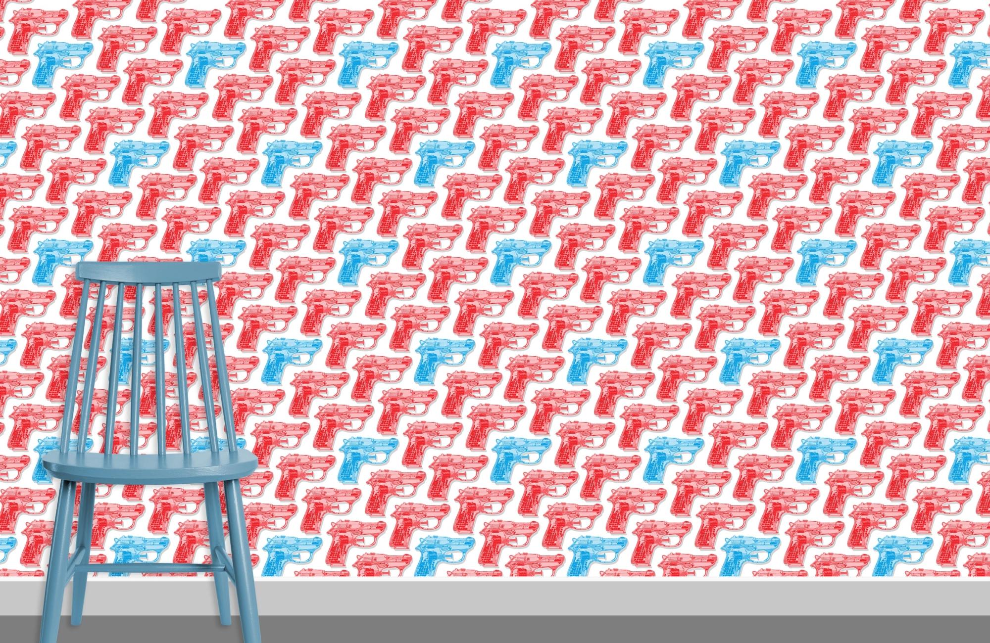Water Pistols pattern design D red cyan 0 plus chair